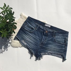 Free People High Waist Button Fly Jean Shorts 30